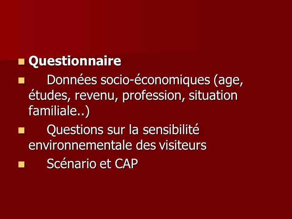 Questionnaire Questionnaire Données socio-économiques (age, études, revenu, profession, situation familiale..) Données socio-économiques (age, études,