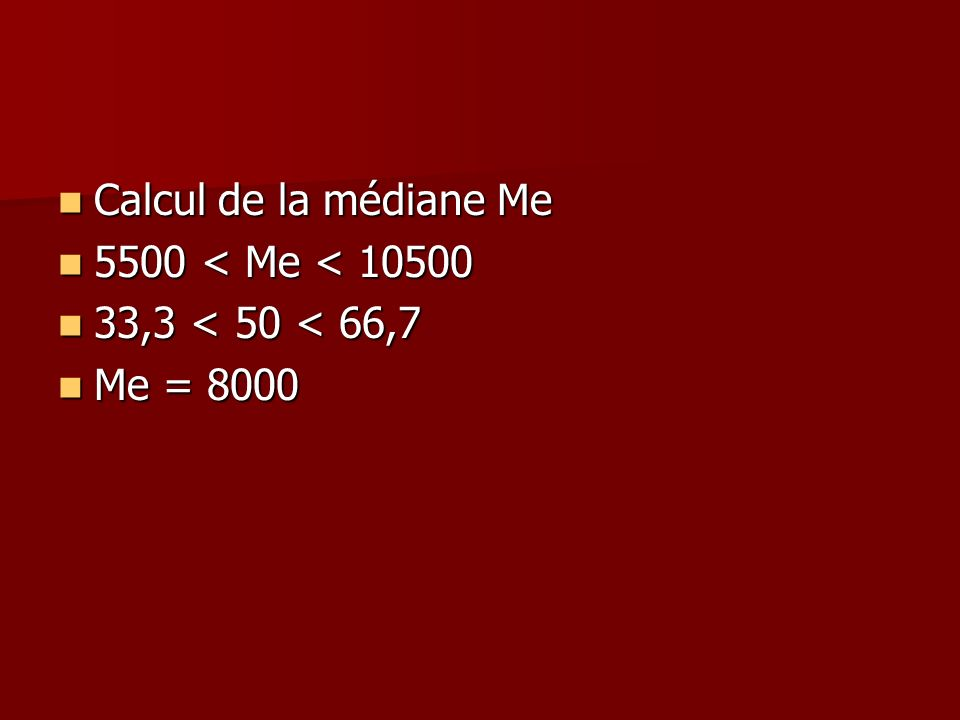 Calcul de la médiane Me Calcul de la médiane Me 5500 < Me < 10500 5500 < Me < 10500 33,3 < 50 < 66,7 33,3 < 50 < 66,7 Me = 8000 Me = 8000