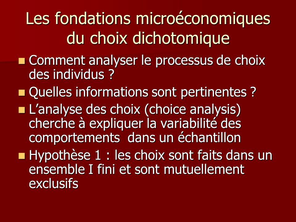 Les fondations microéconomiques du choix dichotomique Comment analyser le processus de choix des individus ? Comment analyser le processus de choix de