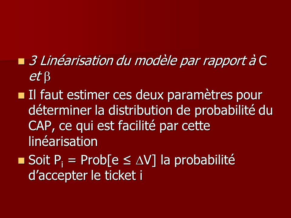 3 Linéarisation du modèle par rapport à C et 3 Linéarisation du modèle par rapport à C et Il faut estimer ces deux paramètres pour déterminer la distr