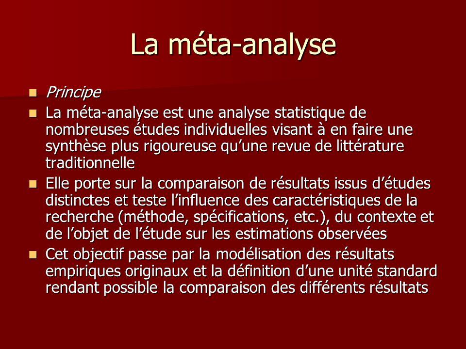 La méta-analyse Principe Principe La méta-analyse est une analyse statistique de nombreuses études individuelles visant à en faire une synthèse plus r