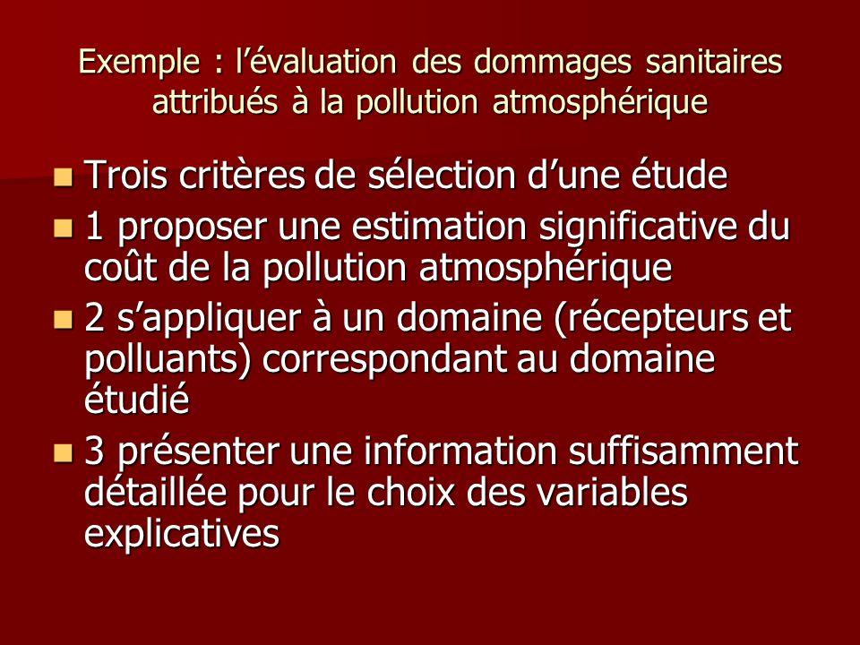 Exemple : lévaluation des dommages sanitaires attribués à la pollution atmosphérique Trois critères de sélection dune étude Trois critères de sélectio
