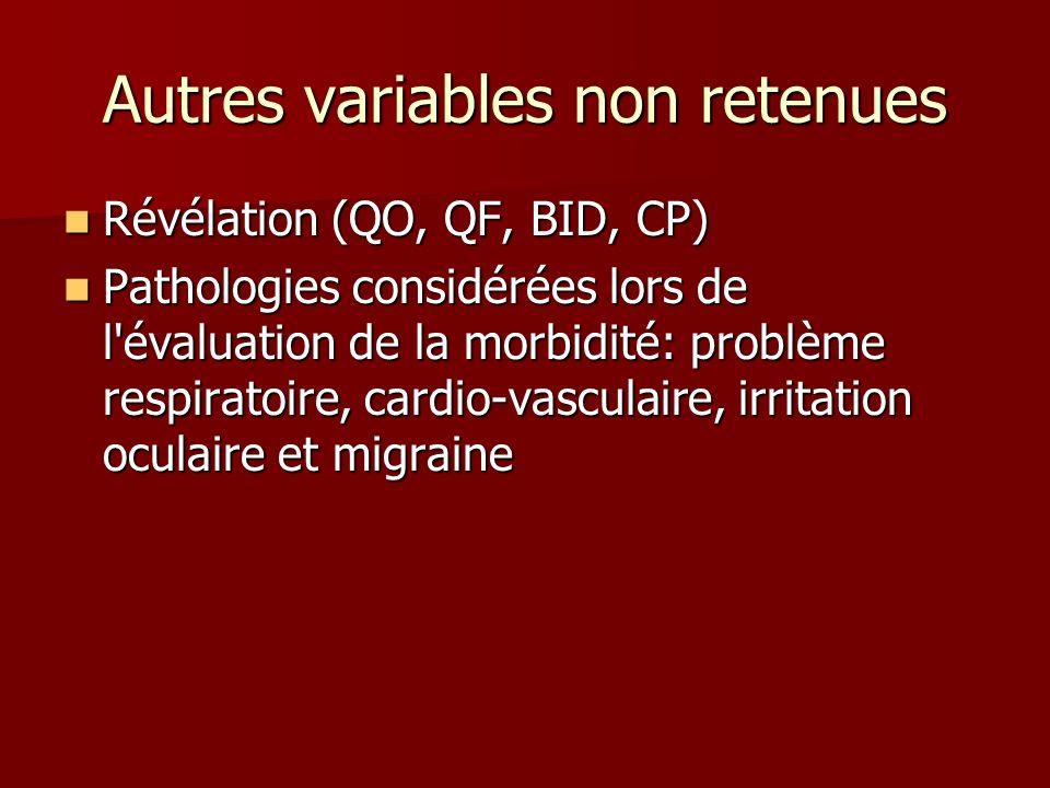 Autres variables non retenues Révélation (QO, QF, BID, CP) Révélation (QO, QF, BID, CP) Pathologies considérées lors de l'évaluation de la morbidité: