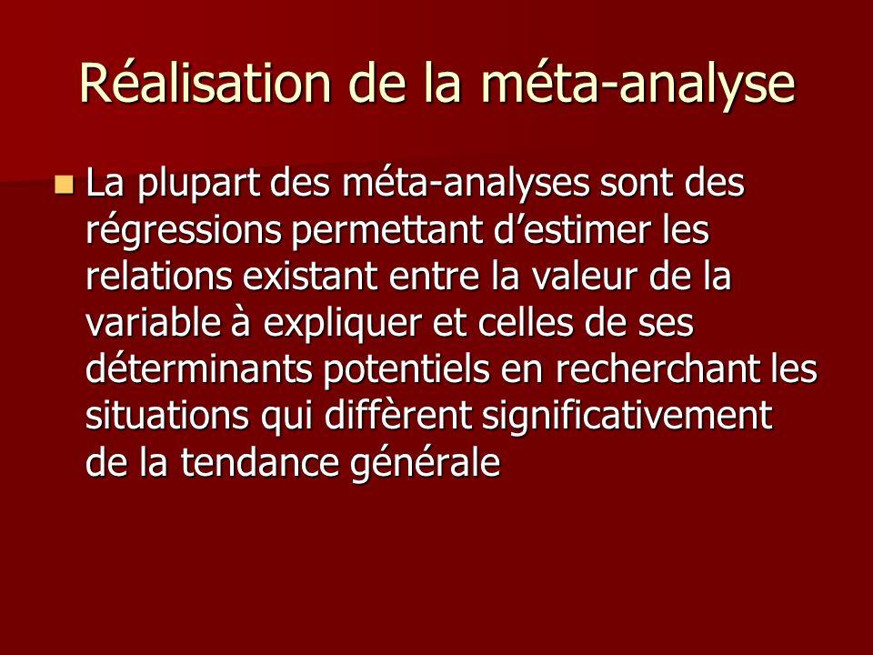 Réalisation de la méta-analyse La plupart des méta-analyses sont des régressions permettant destimer les relations existant entre la valeur de la vari