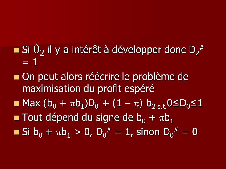 Si 2 il y a intérêt à développer donc D 2 # = 1 Si 2 il y a intérêt à développer donc D 2 # = 1 On peut alors réécrire le problème de maximisation du