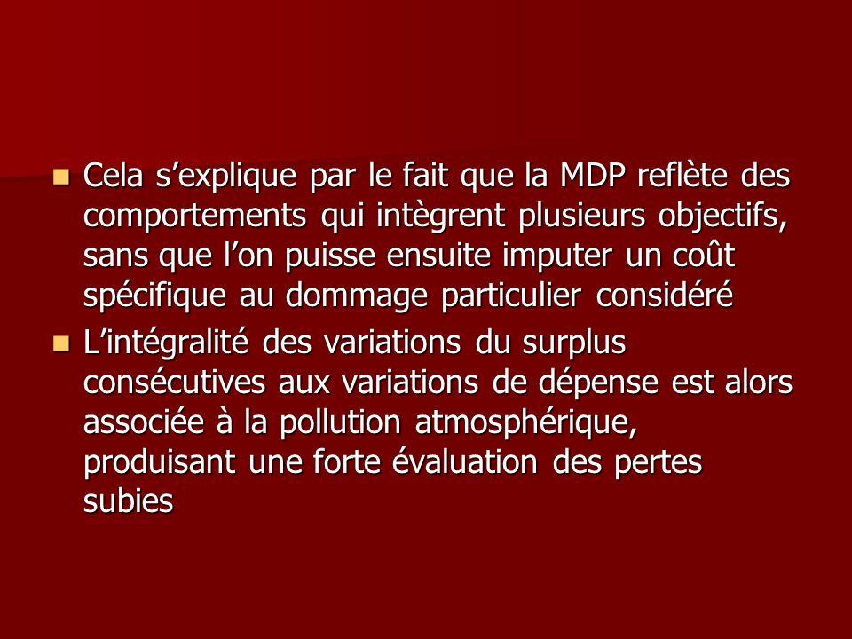 Cela sexplique par le fait que la MDP reflète des comportements qui intègrent plusieurs objectifs, sans que lon puisse ensuite imputer un coût spécifi