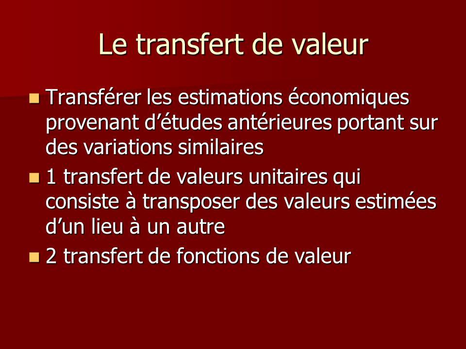 Le transfert de valeur Transférer les estimations économiques provenant détudes antérieures portant sur des variations similaires Transférer les estim