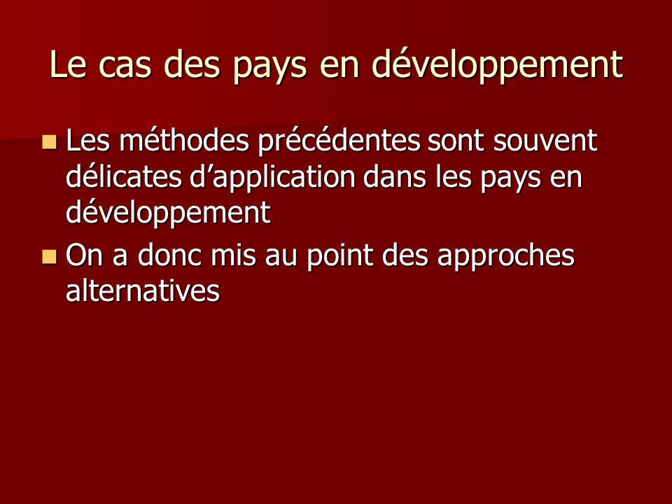 Le cas des pays en développement Les méthodes précédentes sont souvent délicates dapplication dans les pays en développement Les méthodes précédentes