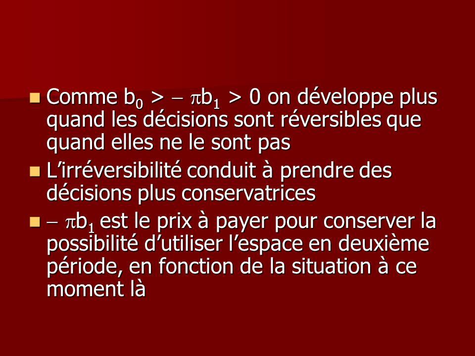 Comme b 0 > b 1 > 0 on développe plus quand les décisions sont réversibles que quand elles ne le sont pas Comme b 0 > b 1 > 0 on développe plus quand
