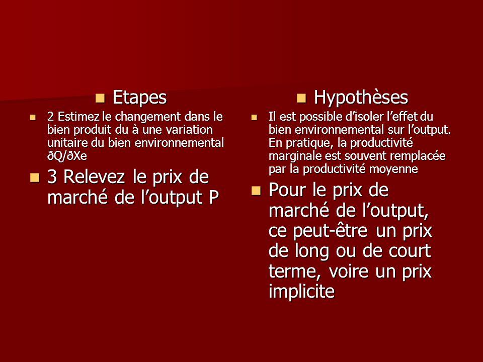Etapes Etapes 2 Estimez le changement dans le bien produit du à une variation unitaire du bien environnemental ðQ/ðXe 2 Estimez le changement dans le