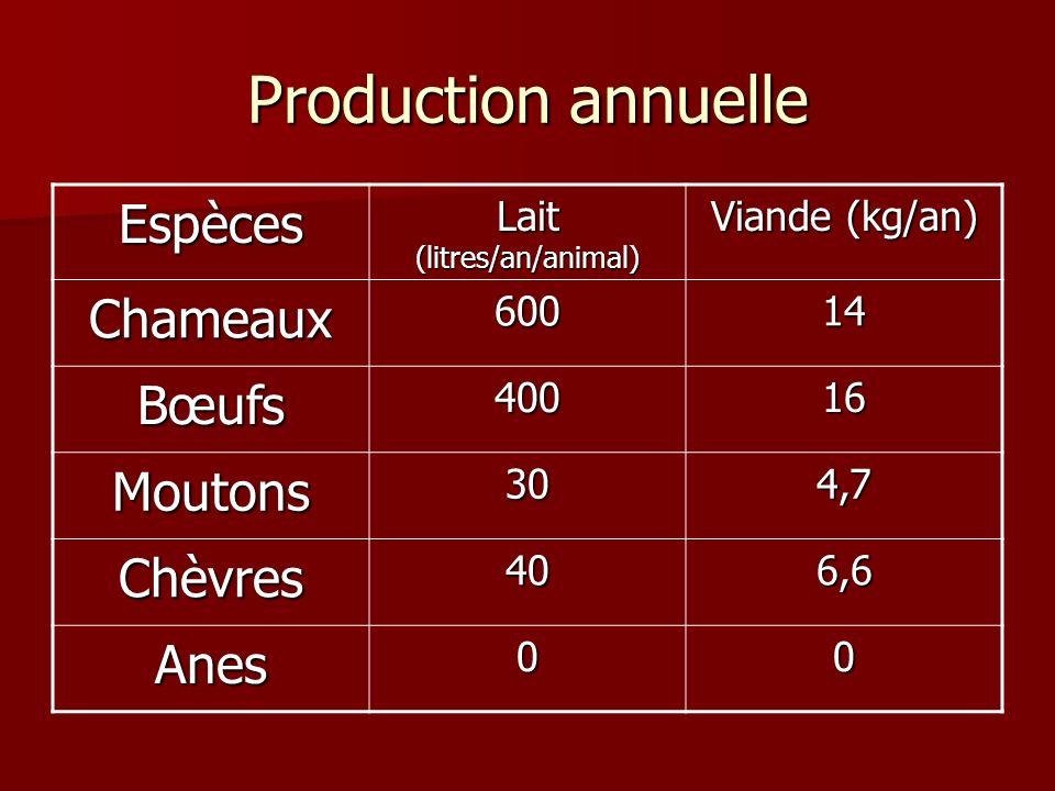 Production annuelle Espèces Lait (litres/an/animal) Viande (kg/an) Chameaux60014 Bœufs40016 Moutons304,7 Chèvres406,6 Anes00