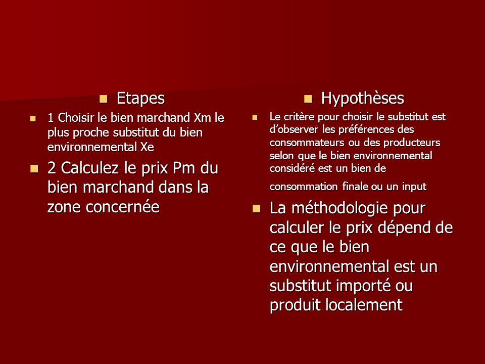 Etapes Etapes 1 Choisir le bien marchand Xm le plus proche substitut du bien environnemental Xe 1 Choisir le bien marchand Xm le plus proche substitut