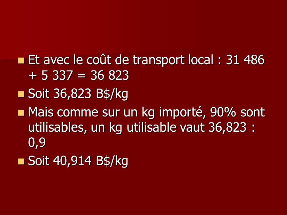 Et avec le coût de transport local : 31 486 + 5 337 = 36 823 Et avec le coût de transport local : 31 486 + 5 337 = 36 823 Soit 36,823 B$/kg Soit 36,82