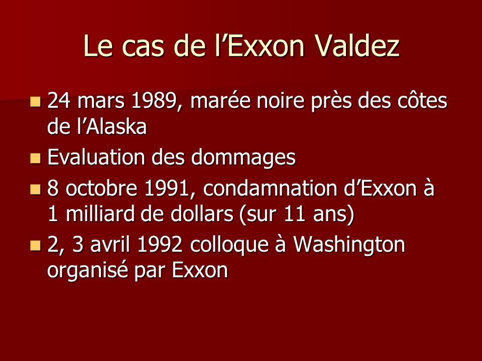 Le cas de lExxon Valdez 24 mars 1989, marée noire près des côtes de lAlaska 24 mars 1989, marée noire près des côtes de lAlaska Evaluation des dommage