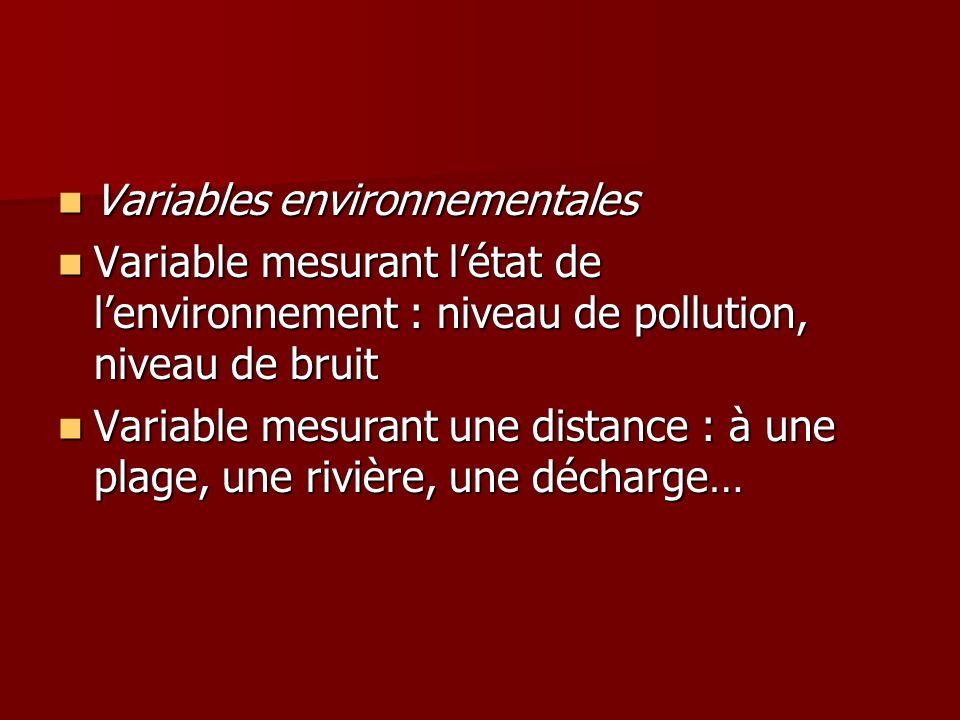 Variables environnementales Variables environnementales Variable mesurant létat de lenvironnement : niveau de pollution, niveau de bruit Variable mesu