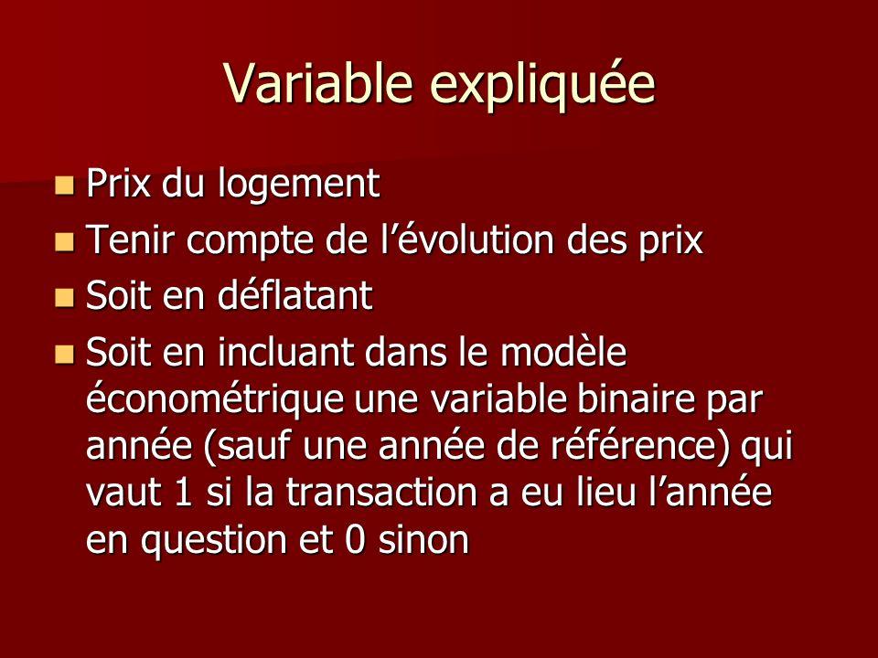 Variable expliquée Prix du logement Prix du logement Tenir compte de lévolution des prix Tenir compte de lévolution des prix Soit en déflatant Soit en