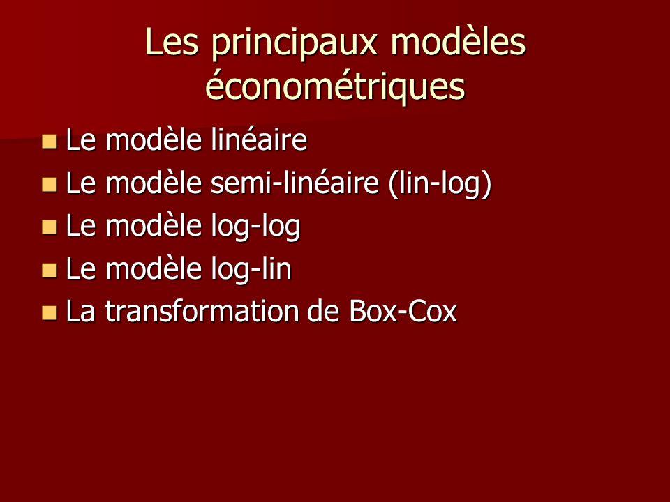 Les principaux modèles économétriques Le modèle linéaire Le modèle linéaire Le modèle semi-linéaire (lin-log) Le modèle semi-linéaire (lin-log) Le mod