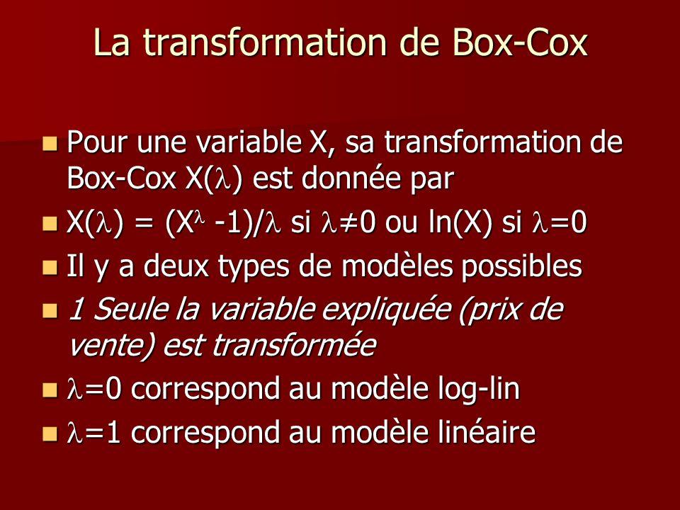 La transformation de Box-Cox Pour une variable X, sa transformation de Box-Cox X( ) est donnée par Pour une variable X, sa transformation de Box-Cox X