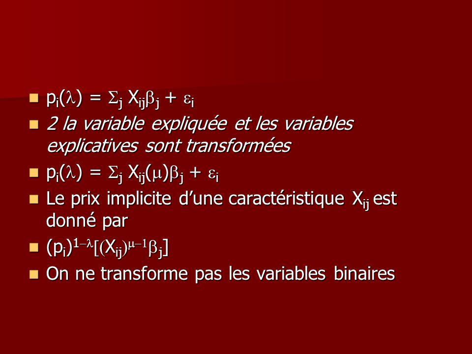 p i ( ) = j X ij j + i p i ( ) = j X ij j + i 2 la variable expliquée et les variables explicatives sont transformées 2 la variable expliquée et les v