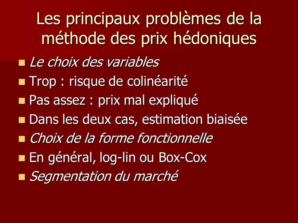 Les principaux problèmes de la méthode des prix hédoniques Le choix des variables Le choix des variables Trop : risque de colinéarité Trop : risque de