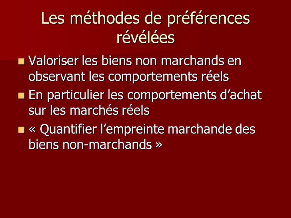 Les méthodes de préférences révélées Valoriser les biens non marchands en observant les comportements réels Valoriser les biens non marchands en obser