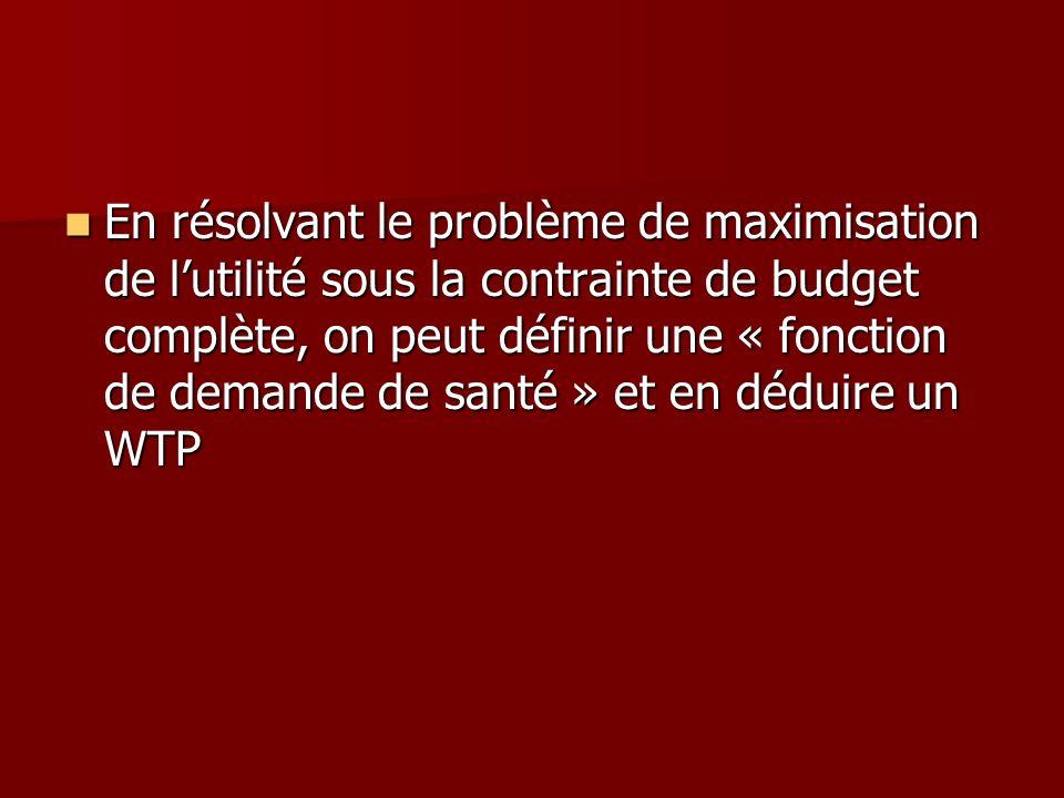 En résolvant le problème de maximisation de lutilité sous la contrainte de budget complète, on peut définir une « fonction de demande de santé » et en