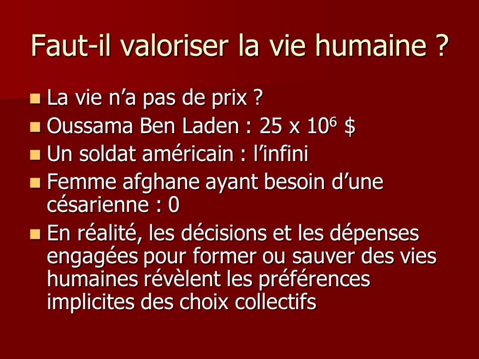 Faut-il valoriser la vie humaine ? La vie na pas de prix ? La vie na pas de prix ? Oussama Ben Laden : 25 x 10 6 $ Oussama Ben Laden : 25 x 10 6 $ Un
