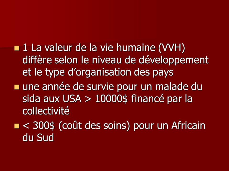 1 La valeur de la vie humaine (VVH) diffère selon le niveau de développement et le type dorganisation des pays 1 La valeur de la vie humaine (VVH) dif