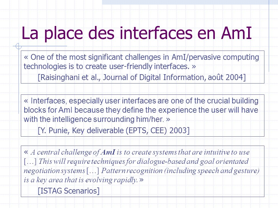 La place des interfaces en AmI « One of the most significant challenges in AmI/pervasive computing technologies is to create user-friendly interfaces.