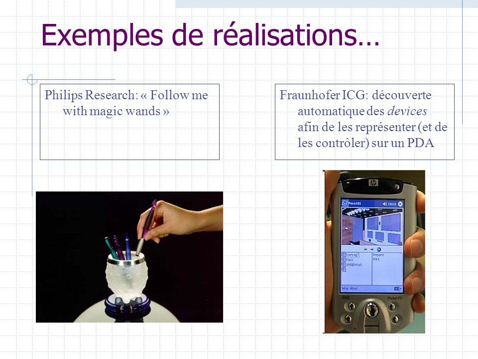 Interactions implicites: en sortie Exemples… Développé par BTs Research Labs: Interaction device qui utilise la lumière et des sons pour attirer lattention de lutilisateur, et la détection de mouvements (de la main) en entrée.