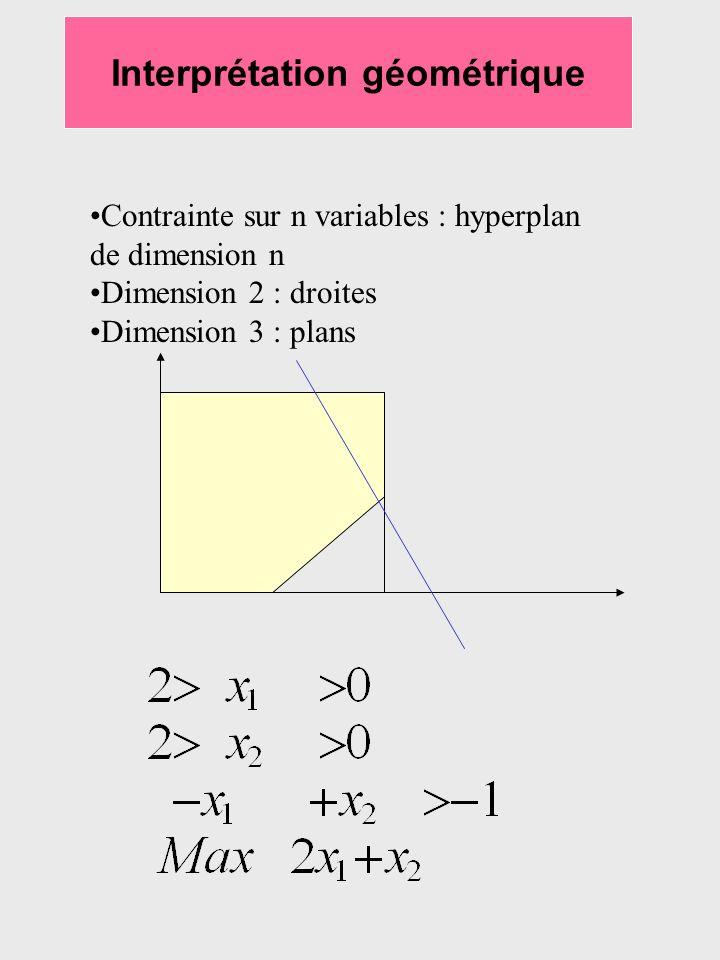 Interprétation géométrique Contrainte sur n variables : hyperplan de dimension n Dimension 2 : droites Dimension 3 : plans