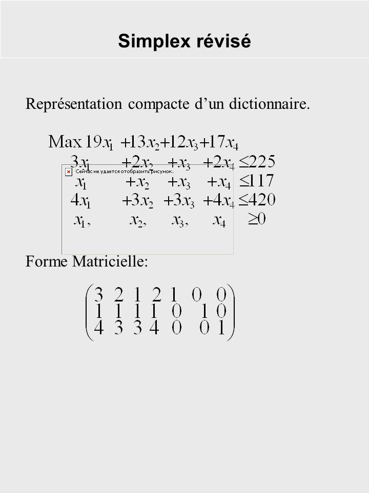 Simplex révisé Représentation compacte dun dictionnaire. Forme Matricielle: