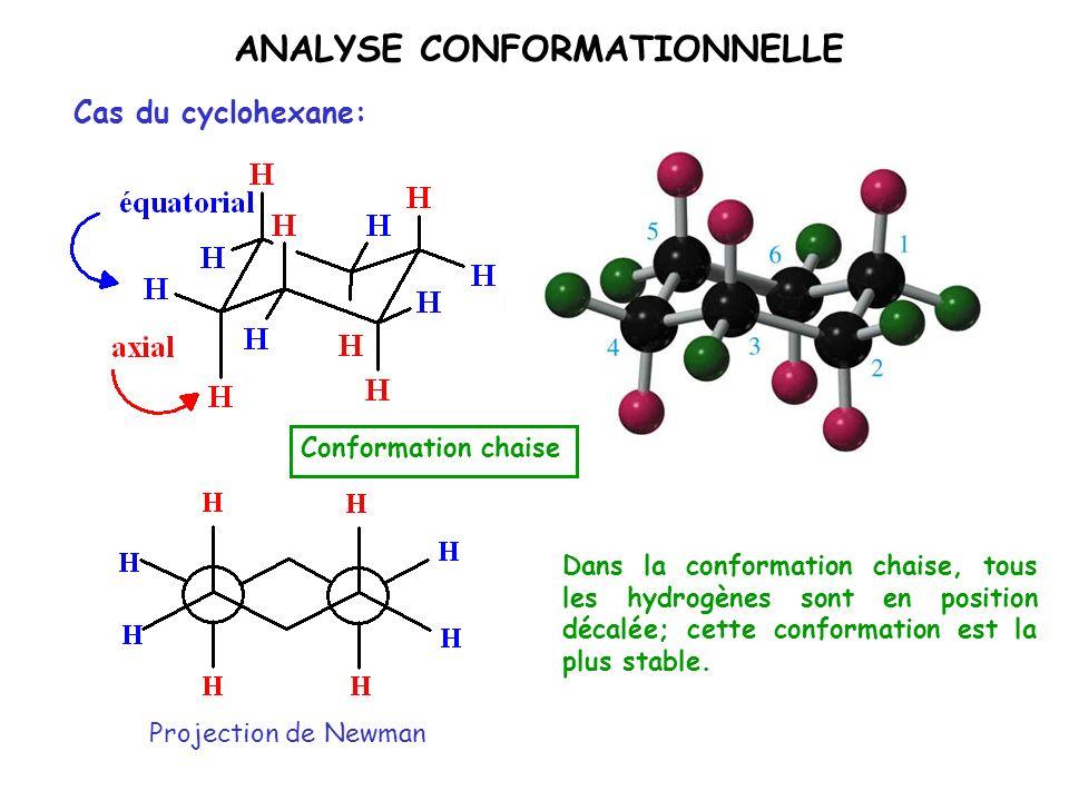 ANALYSE CONFORMATIONNELLE Cas du cyclohexane: Conformation chaise Dans la conformation chaise, tous les hydrogènes sont en position décalée; cette con