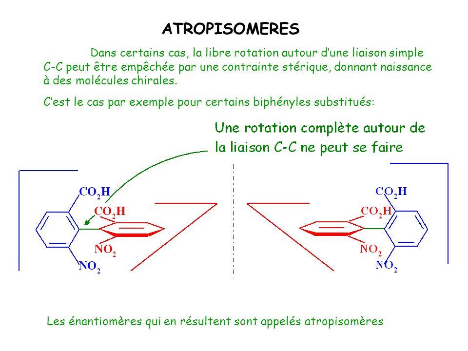 Dans certains cas, la libre rotation autour dune liaison simple C-C peut être empêchée par une contrainte stérique, donnant naissance à des molécules
