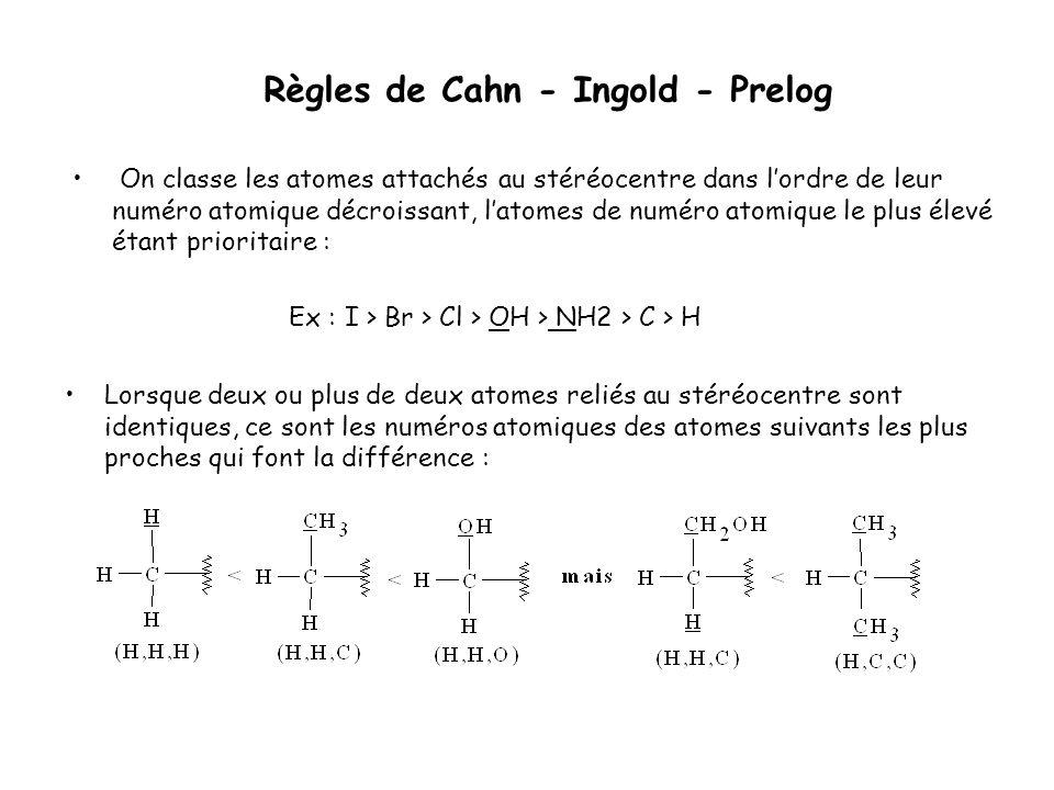 Règles de Cahn - Ingold - Prelog On classe les atomes attachés au stéréocentre dans lordre de leur numéro atomique décroissant, latomes de numéro atom