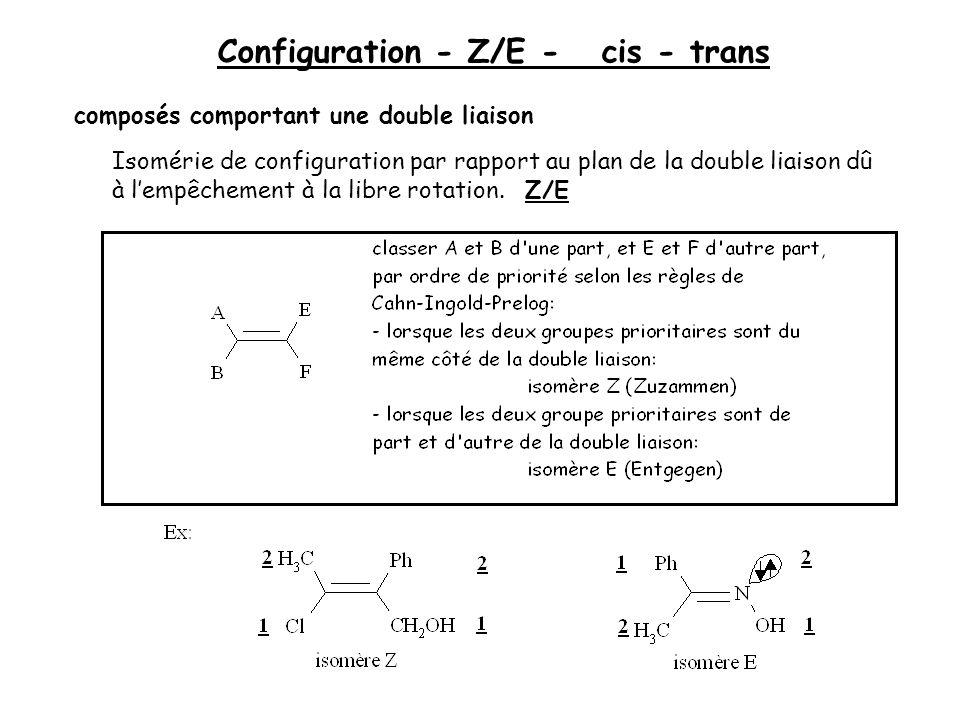 Configuration - Z/E - cis - trans composés comportant une double liaison Isomérie de configuration par rapport au plan de la double liaison dû à lempê