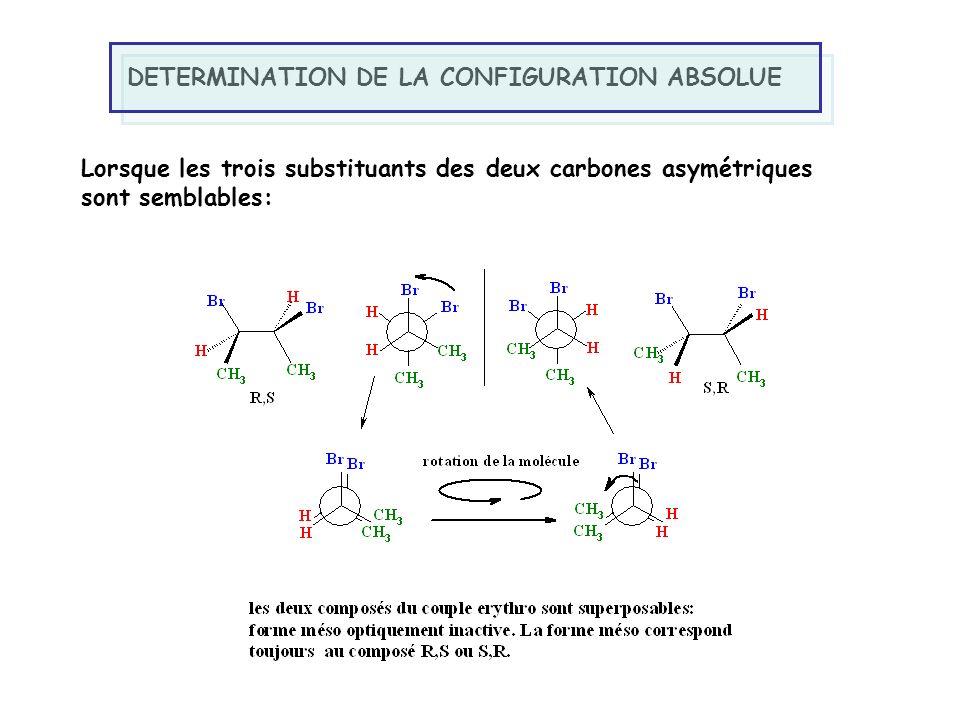 DETERMINATION DE LA CONFIGURATION ABSOLUE Lorsque les trois substituants des deux carbones asymétriques sont semblables: