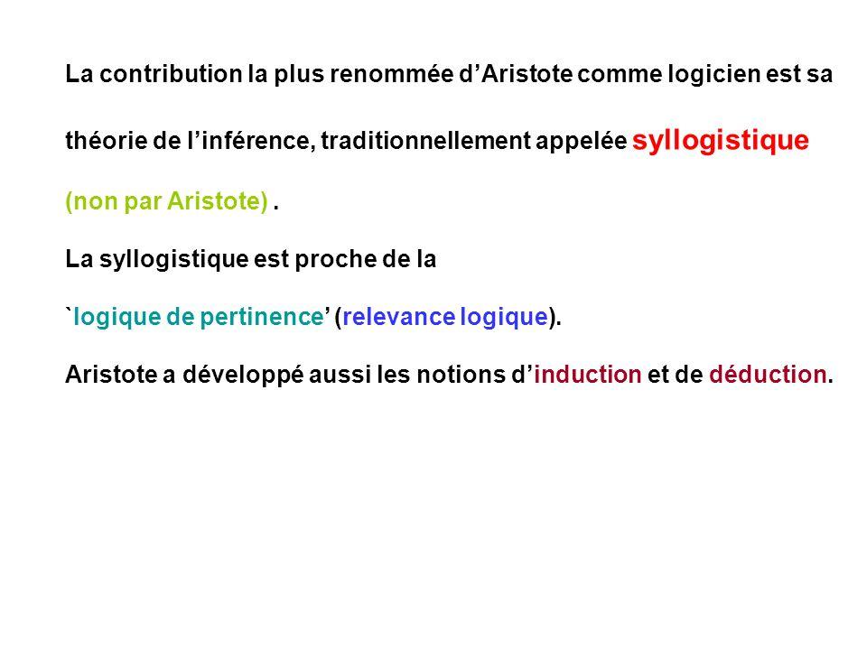 La contribution la plus renommée dAristote comme logicien est sa théorie de linférence, traditionnellement appelée syllogistique (non par Aristote). L