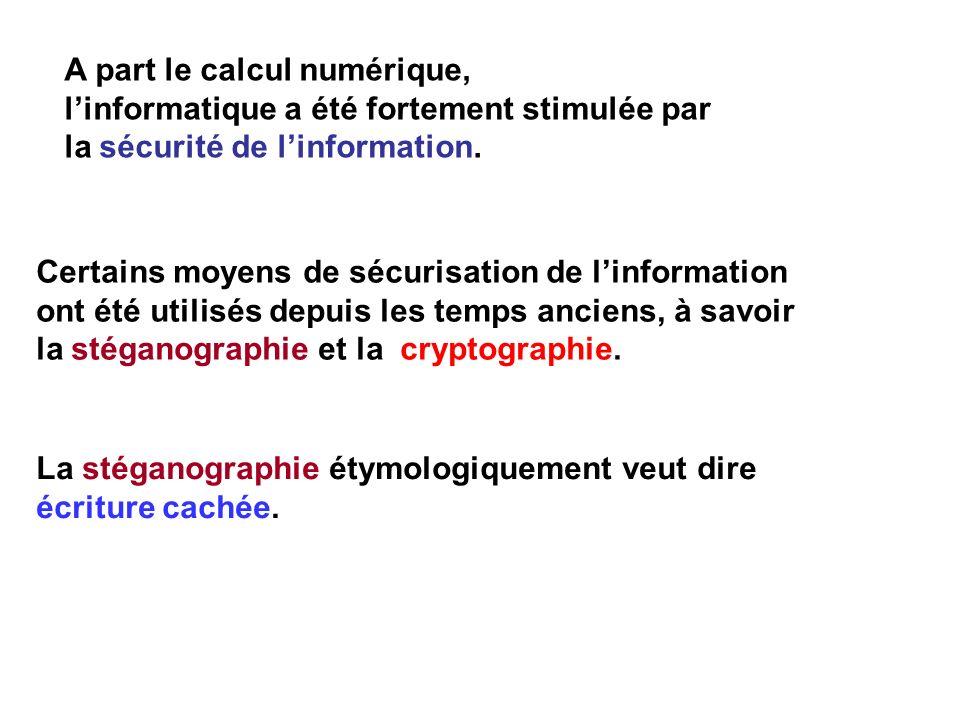 La stéganographie étymologiquement veut dire écriture cachée. A part le calcul numérique, linformatique a été fortement stimulée par la sécurité de li