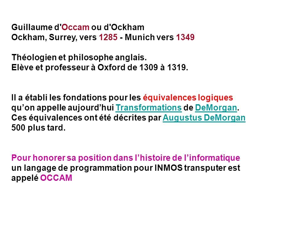 Guillaume d'Occam ou d'Ockham Ockham, Surrey, vers 1285 - Munich vers 1349 Théologien et philosophe anglais. Elève et professeur à Oxford de 1309 à 13
