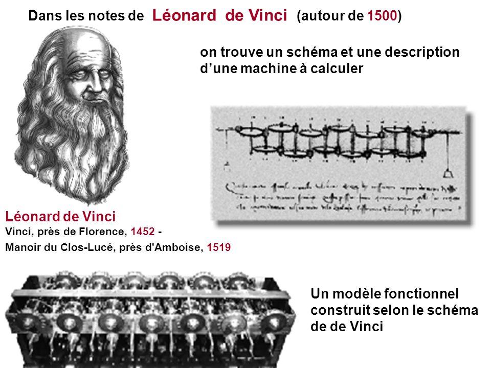 Dans les notes de Léonard de Vinci (autour de 1500) on trouve un schéma et une description dune machine à calculer Un modèle fonctionnel construit sel