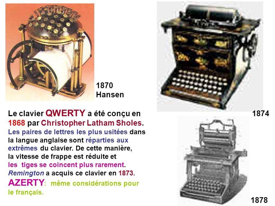 1870 Hansen 1874 1878 Le clavier QWERTY a été conçu en 1868 par Christopher Latham Sholes. Les paires de lettres les plus usitées dans la langue angla