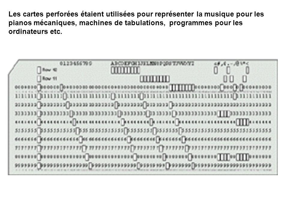 Les cartes perforées étaient utilisées pour représenter la musique pour les pianos mécaniques, machines de tabulations, programmes pour les ordinateur