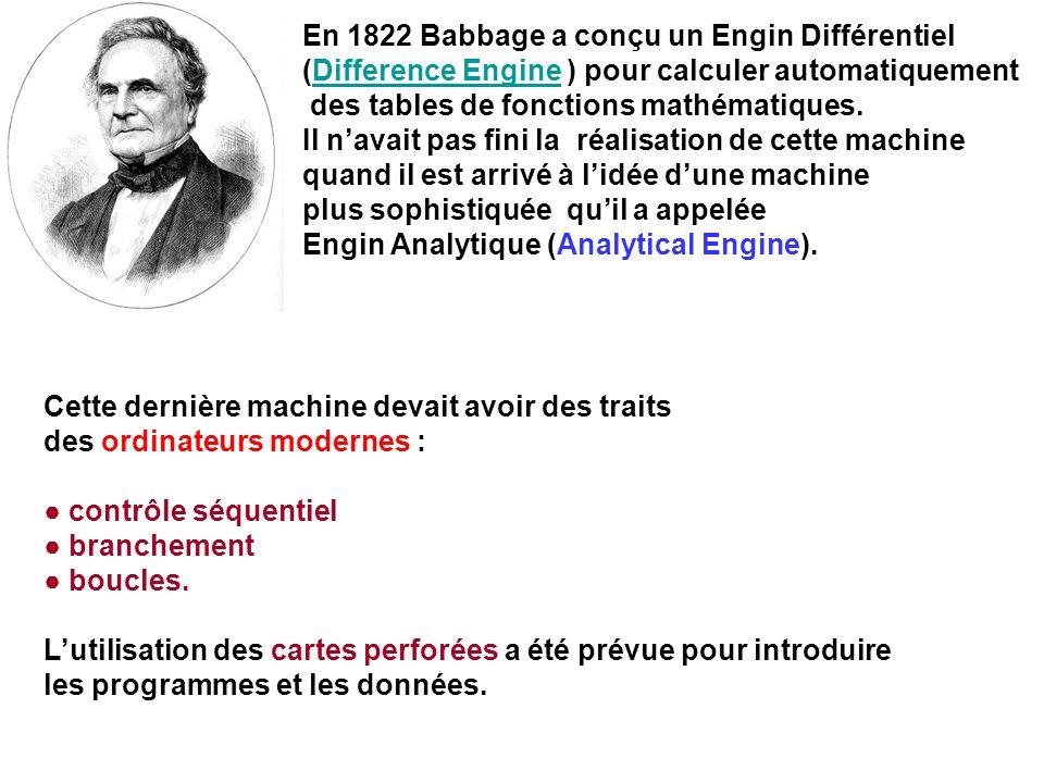 En 1822 Babbage a conçu un Engin Différentiel (Difference Engine ) pour calculer automatiquementDifference Engine des tables de fonctions mathématique