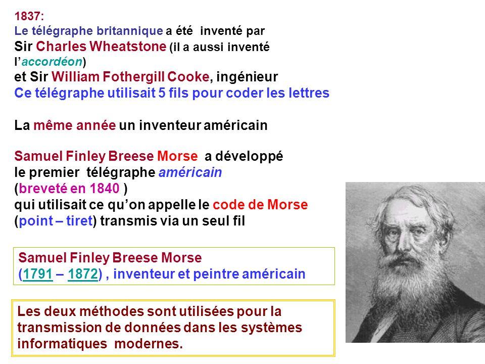 1837: Le télégraphe britannique a été inventé par Sir Charles Wheatstone (il a aussi inventé laccordéon) et Sir William Fothergill Cooke, ingénieur Ce