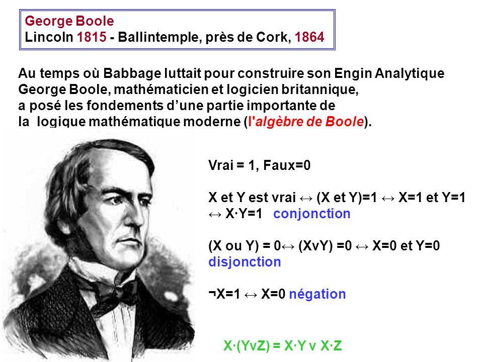 George Boole Lincoln 1815 - Ballintemple, près de Cork, 1864 Au temps où Babbage luttait pour construire son Engin Analytique George Boole, mathématic