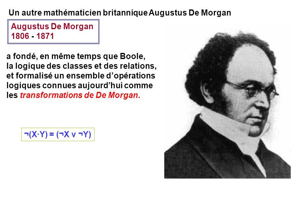 Augustus De Morgan 1806 - 1871 a fondé, en même temps que Boole, la logique des classes et des relations, et formalisé un ensemble dopérations logique