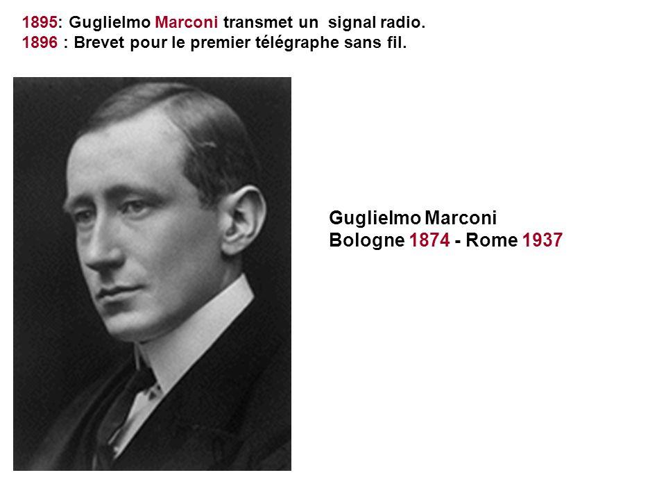 1895: Guglielmo Marconi transmet un signal radio. 1896 : Brevet pour le premier télégraphe sans fil. Guglielmo Marconi Bologne 1874 - Rome 1937