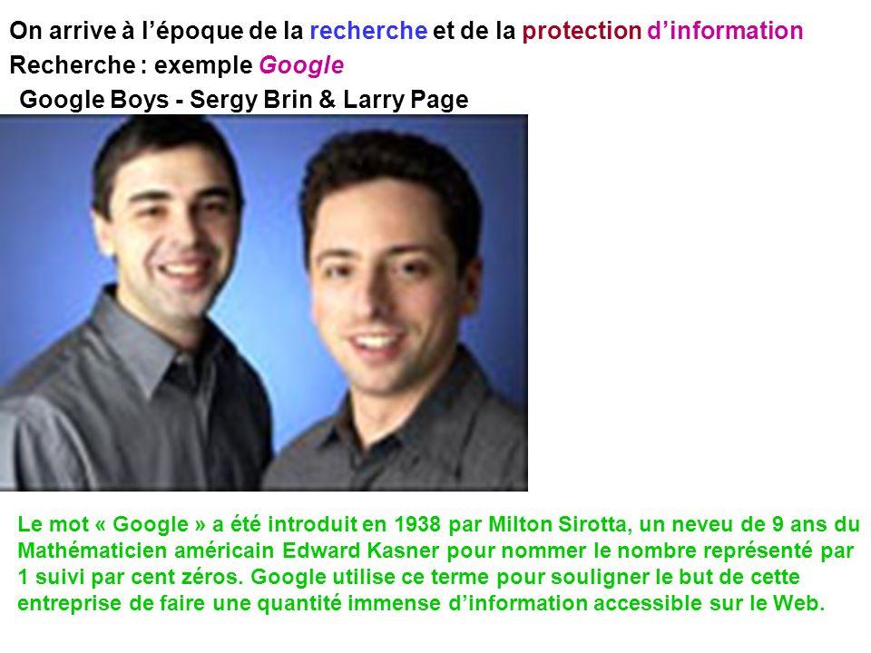 On arrive à lépoque de la recherche et de la protection dinformation Recherche : exemple Google Google Boys - Sergy Brin & Larry Page Le mot « Google