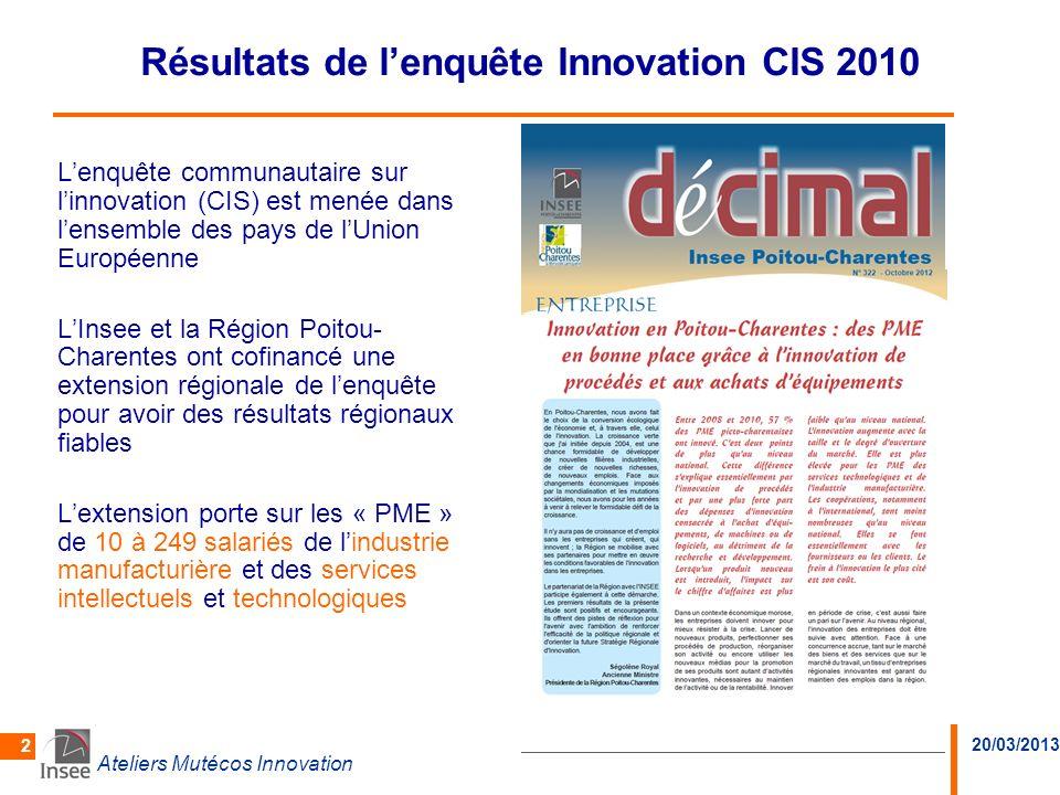 20/03/2013 Ateliers Mutécos Innovation 2 Résultats de lenquête Innovation CIS 2010 Lenquête communautaire sur linnovation (CIS) est menée dans lensemb
